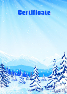 Certificate template «Winter in the mountains»
