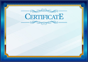 Certificate template «Blue in gold»