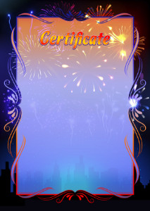 Certificate template «Fireworks»