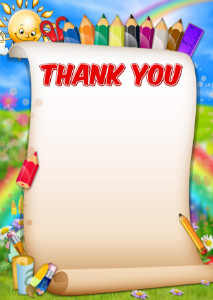 Thank You Card template «Funny pencils»