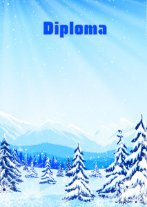 Diploma template «Winter in the mountains»