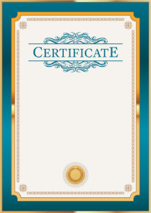 Certificate template «Petrol in gold»