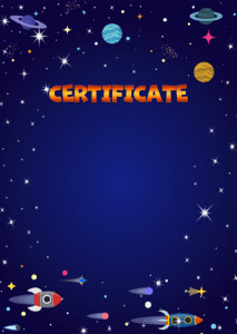 Certificate template «Space flight»