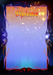 Diploma template «Fireworks»