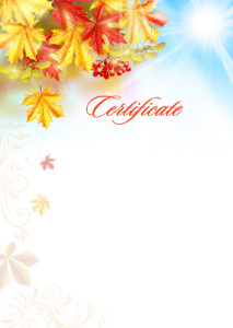 Certificate template «Warm autumn»