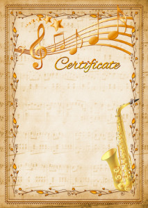 The Certificate template «Saxophone»