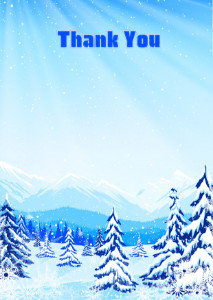 Thank You Card template «Winter in the mountains»