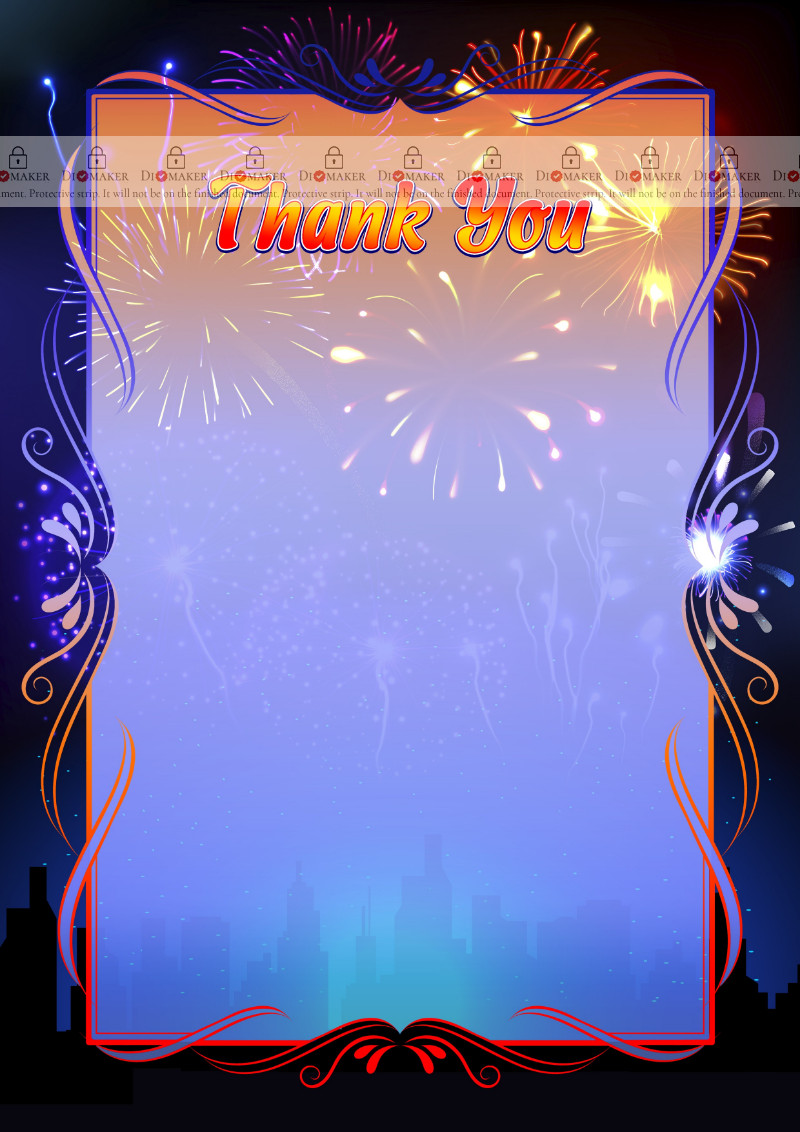 Thank You Card template «Fireworks»