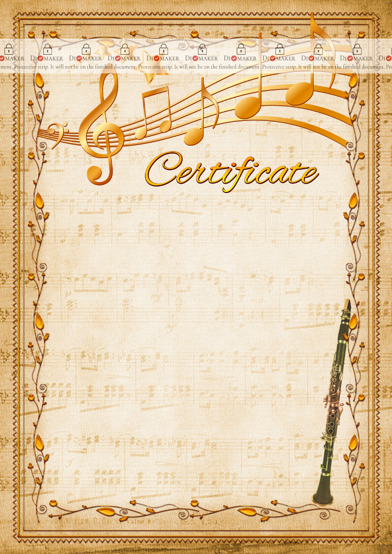 The Certificate template «Clarinet»