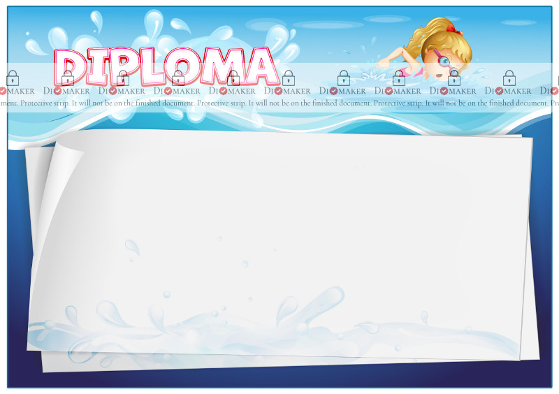 Diploma template «Swimming pool»